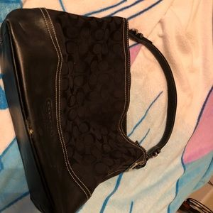Coach black signature shoulder bag